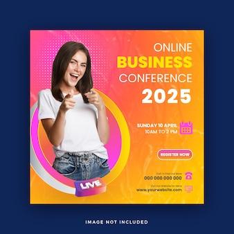 Konferencja biznesowa webinar internetowy post w mediach społecznościowych lub kwadratowy baner internetowy