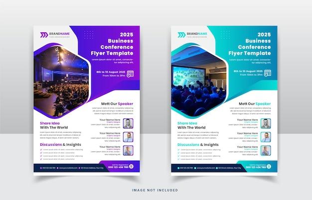 Konferencja biznesowa webinar korporacyjny ulotka szablon