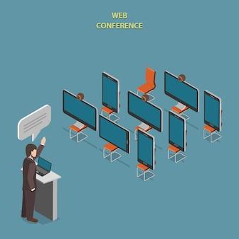 Konferencja internetowa flat isometric.