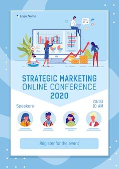 Konferencja internetowa mobile web banner płaski szablon