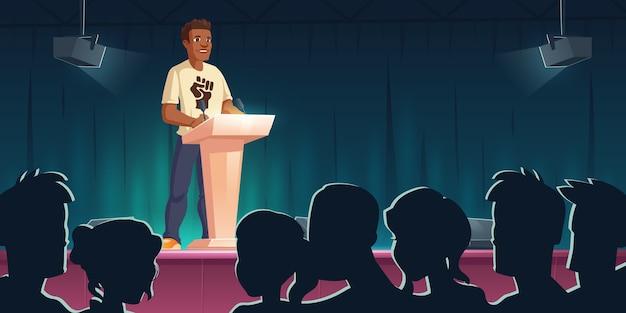 Konferencja w sprawie czarnych żyć. afroamerykanin mówiący na trybunie przeciwko dyskryminacji rasowej. postać z ciemnej skóry z nadrukiem pięści na piersi wspiera prawa człowieka, ilustracja kreskówka