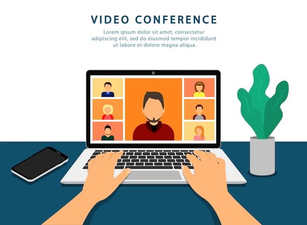 Konferencja wideo na laptopie. spotkanie online. kwarantanna. makieta połączeń wideo.