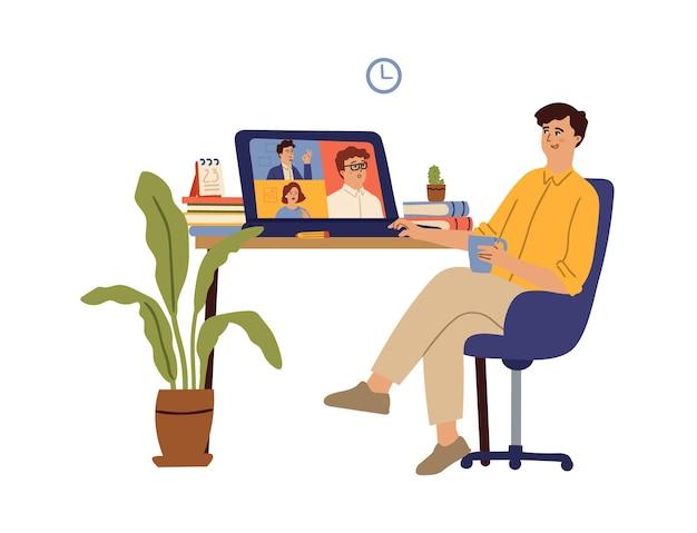 Konferencja wideo. nauka przez internet, wirtualne spotkanie komputerowe z przyjaciółmi. połączenie biznesowe, komunikacja online lub koncepcja wektor szkolenia. ilustracja komunikacja internetowa, spotkanie wideo