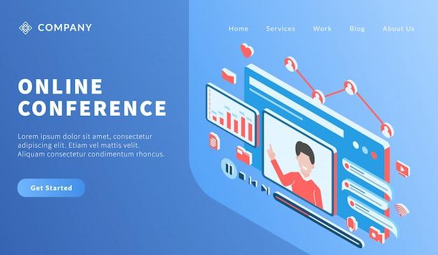 Konferencja wideo online z człowiekiem prowadzącym kurs lekcji dla szablonu strony internetowej lub strony docelowej