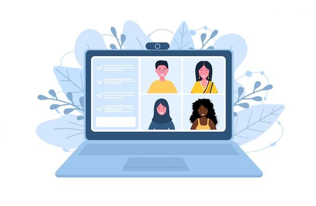 Konferencja wideo praca z domu. dystans społeczny. dyskusja biznesowa. ilustracja w wielkim stylu.