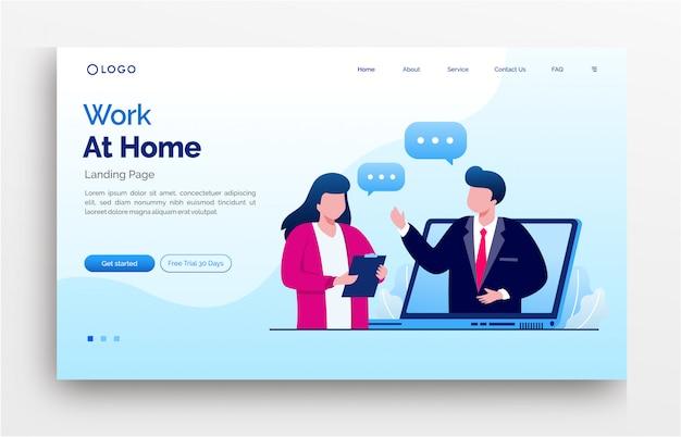 Konferencyjna online praca w domu lądowania strony strony internetowej ilustracyjny płaski szablon