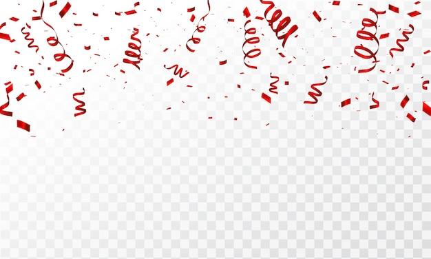 Konfetti i czerwone wstążki.