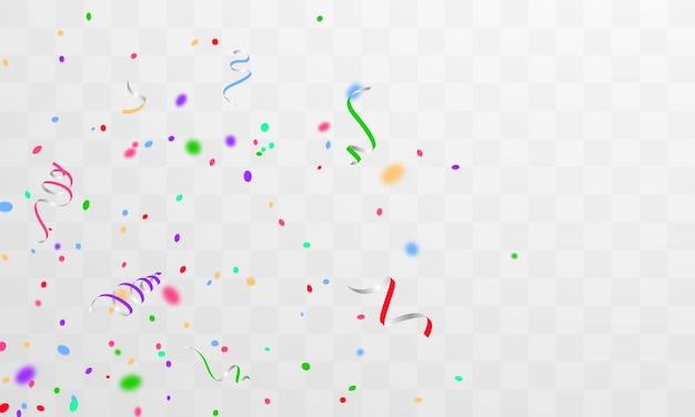 Konfetti i kolorowe wstążki. szablon tło uroczystość