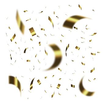 Konfetti na przezroczystym tle. spadające błyszczące złote konfetti.