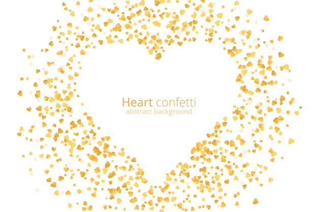 Konfetti rocznika złote serce. tło złoty brokat.