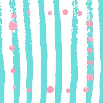 Konfetti różowe brokatowe kropki na turkusowych paskach. błyszczące opadające cekiny z połyskiem i iskierkami. zaprojektuj z różowymi brokatowymi kropkami na zaproszenie na przyjęcie, wesele i zapisz zaproszenie na datę.