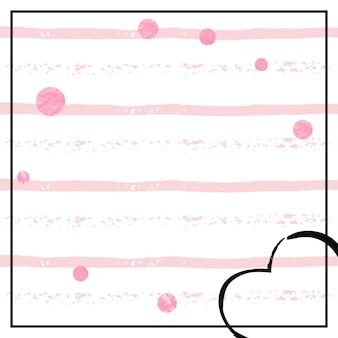 Konfetti różowy brokat kropki na białe paski. błyszczące losowe cekiny z metalicznym połyskiem. szablon z różowymi brokatowymi kropkami na kartkę z życzeniami, wesele i zapisz datę zaproszenia.