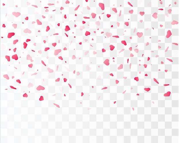 Konfetti serca spada na białym tle. koncepcja walentynki. kształty serca