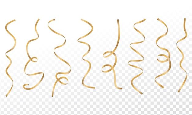 Konfetti serpentynowe złote kręcone wstążki. złote serpentyny na przezroczystym tle.