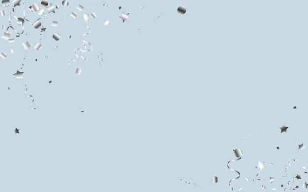 Konfetti silver star niebieskie tło, świąteczna koncepcja