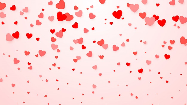 Konfetti w serduszka. tło serca na plakat, zaproszenie na ślub, dzień matki, walentynki, dzień kobiet, karty. ilustracja amour tło