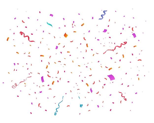 Konfetti wektor ilustracja uroczysty tło party koncepcja latające wstążki na białym tle