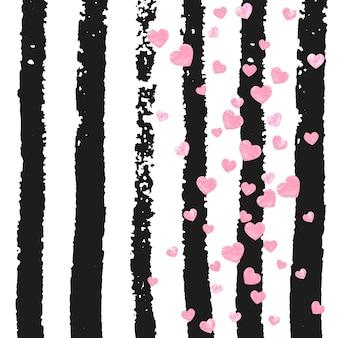 Konfetti z różowym brokatem z sercami na czarnych paskach. opadające cekiny z połyskiem i iskierkami. szablon z konfetti różowego brokatu na kartkę z życzeniami, wesele i zapisz datę zaprosić.