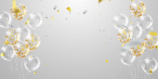 Konfetti złote balony jasne na przezroczystym tle