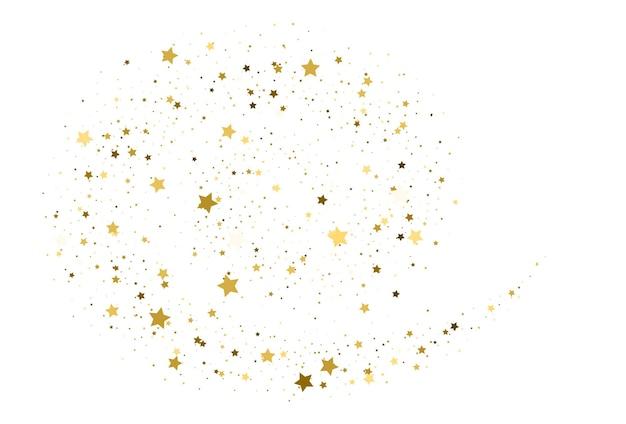 Konfetti złote gwiazdki latające. złoty brokat fala streszczenie tło. złoto błyszczy na białym tle, projekt szablonu