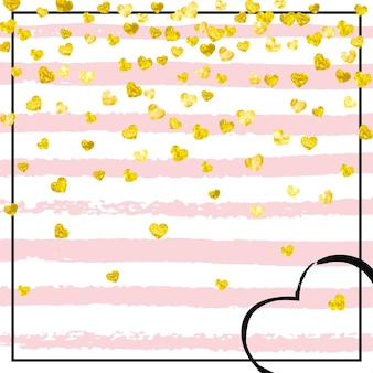 Konfetti złoty brokat z sercami na różowych paskach. losowo opadające cekiny z błyszczącymi błyskami. szablon z konfetti złoty brokat na zaproszenie na imprezę, baner imprezy, ulotka, kartka urodzinowa.
