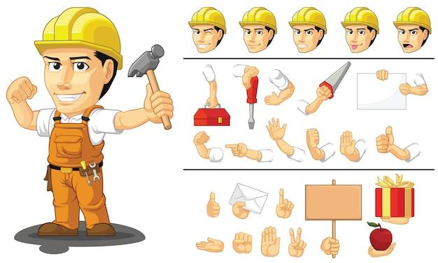 Konfigurowalna maskotka robotnik budowlany przemysłowy