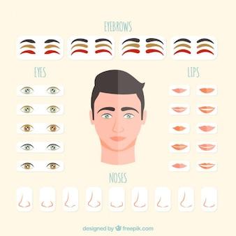 Konfigurowalny męskiej twarzy