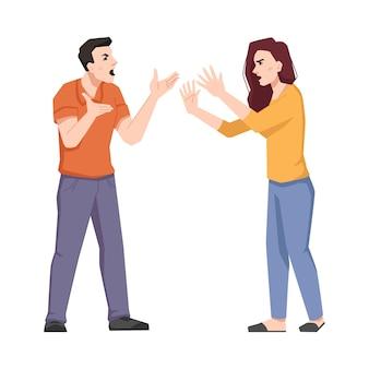 Konflikt rodzinny kłócąca się para krzyczących ludzi