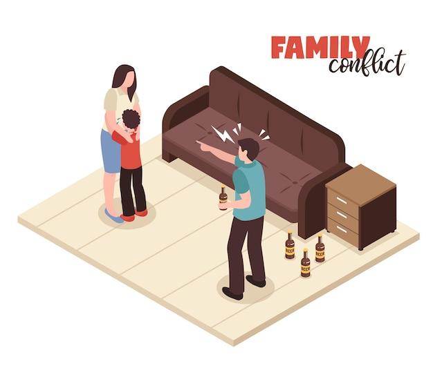 Konflikty rodzinne z kłócącymi się i krzyczącymi symbolami izometryczną ilustracją