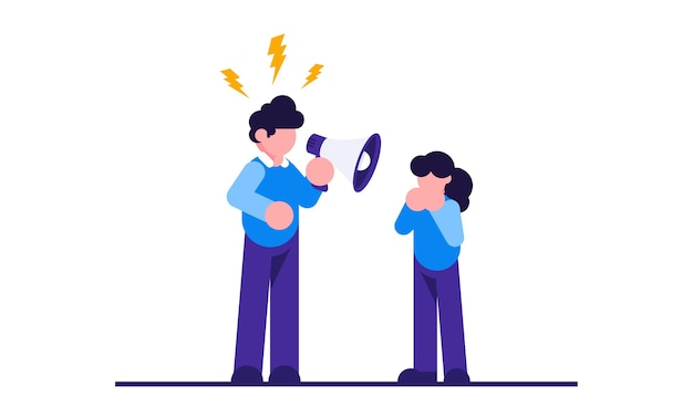 Konflikty rodzinne. zły ojciec beszta dziecko. rodzinna kłótnia. niewłaściwe wychowanie, psychologia.