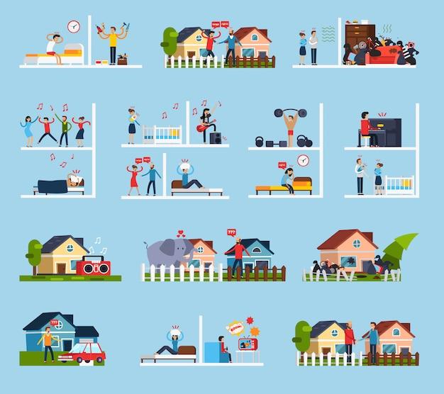 Konflikty z zestaw ikon sąsiadów