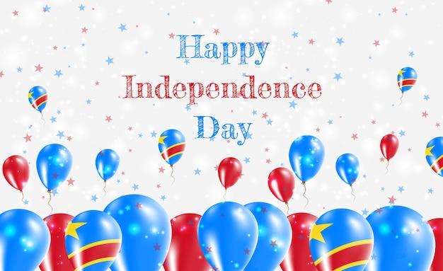 Kongo demokratyczna republika dnia niepodległości patriotyczny design. balony w kongijskich barwach narodowych. szczęśliwy dzień niepodległości wektor kartkę z życzeniami.