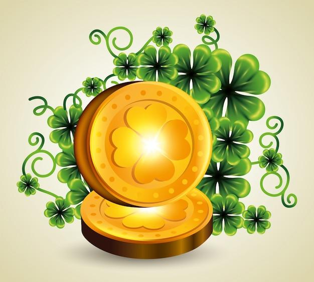 Koniczyny rośliny ze złotymi monetami na dzień świętego patryka