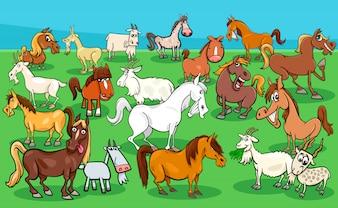 Konie i kozy hodowlane grupy zwierząt
