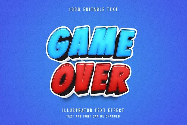 Koniec gry, 3d edytowalny efekt tekstowy niebieski gradacja czerwony nowoczesny styl komiksowy