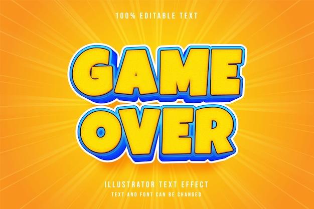 Koniec gry, 3d edytowalny efekt tekstowy żółty niebieski komiks styl czcionki