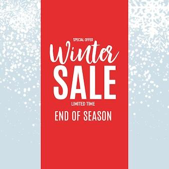 Koniec sprzedaży zimowej tła, szablon kupon rabatowy. ilustracja wektorowa eps10