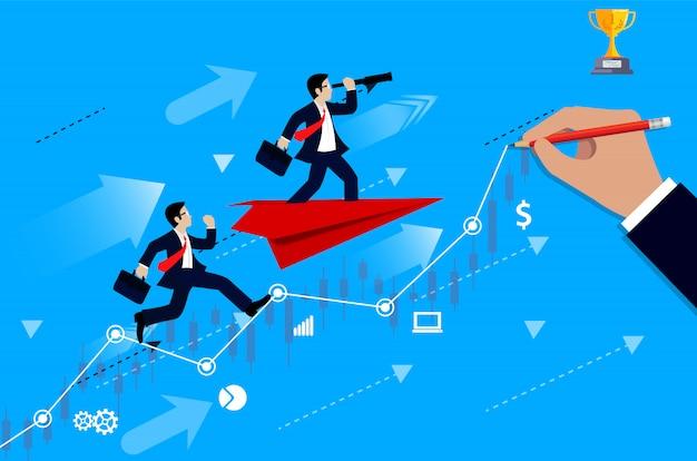 Konkurencja biznesmenów na wykresie od linii do celu, aby osiągnąć sukces lidera