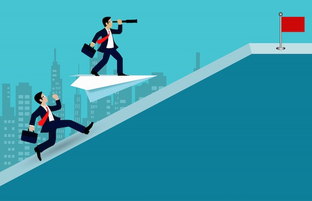 Konkurs biznesmenów biegnący po stoku idzie do celu