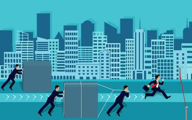 Konkurs biznesmenów popycha przeszkodę i biegnie do mety, aby osiągnąć sukces