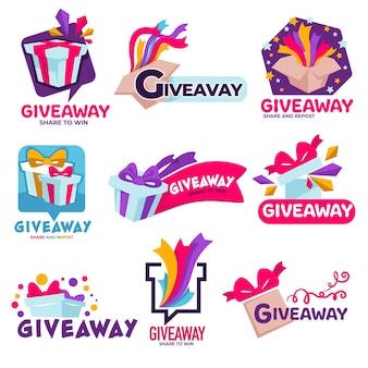 Konkurs dla obserwujących lub subskrybentów, izolowane banery z prezentami oraz świąteczne konfetti lub wstążki. quiz lub nagroda dla losowego zwycięzcy, promocja mediów społecznościowych lub produktów, wektor