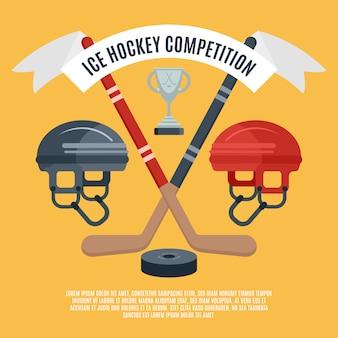 Konkurs płaski plakat hokeja na lodzie
