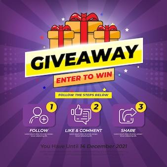 Konkurs prezentów dla mediów społecznościowych. konkurs na wygranie nagrody szablon giveaway postępuj zgodnie z poniższymi instrukcjami