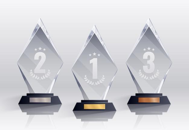 Konkursowe trofea realistyczne zestaw z symbolami miejsc na białym tle