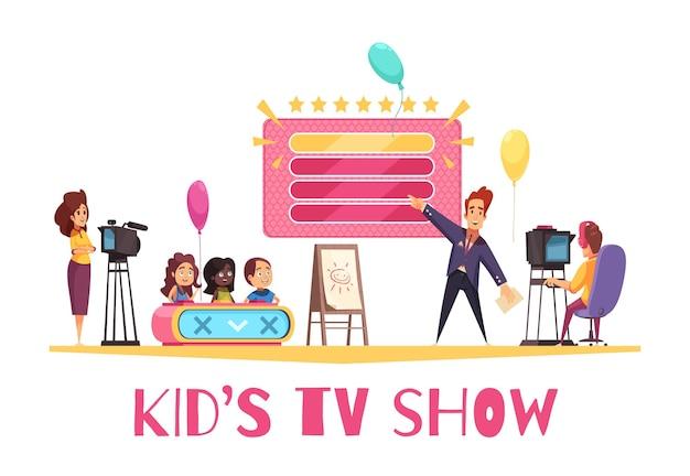 Konkursy gier telewizyjnych pokazują kompozycję kreskówek dla dzieci z operatorem prezentera dla dzieci na ilustracji studia telewizyjnego