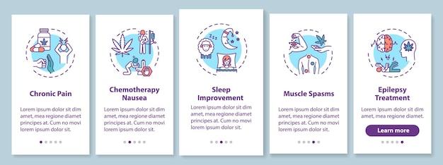 Konopie indyjskie do użytku medycznego na ekranie strony aplikacji mobilnej z koncepcjami. przewlekłe leczenie bólu krok po kroku instrukcje graficzne 5 kroków. szablon wektorowy interfejsu użytkownika z kolorowymi ilustracjami rgb