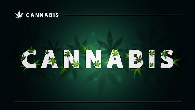 Konopie, zielony plakat z dużymi białymi literami i liśćmi marihuany na ciemnym tle. znak konopi z liśćmi