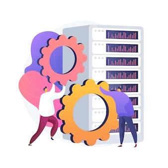 Konserwacja sprzętu serwerowego. sprzęt do mocowania pracy zespołowej. przechowywanie danych, klaster ethernet, system centrum danych. infrastruktura superkomputera. domena stacji roboczej. ilustracja wektorowa na białym tle koncepcja metafora.