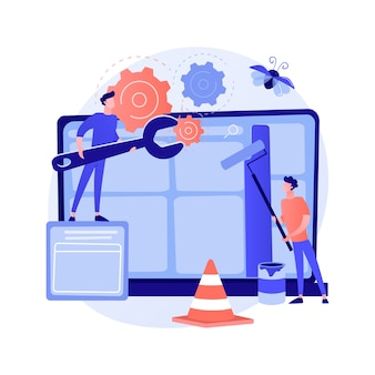 Konserwacja strony internetowej abstrakcyjna koncepcja ilustracji wektorowych. serwis, utrzymanie seo strony internetowej, projektowanie stron internetowych, profesjonalne wsparcie strony korporacyjnej, analiza bezpieczeństwa, aktualizacja abstrakcyjnej metafory.