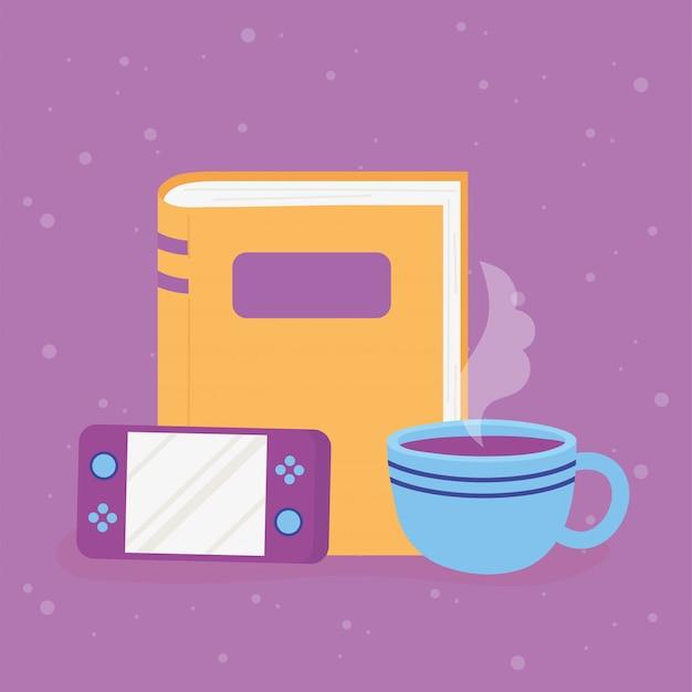 Konsola do gier i kreskówka przerwa na kawę filiżanka kawy